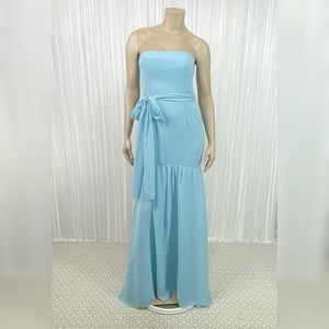 WHITE VERA WANG Strapless Blue Gown in Mist 2